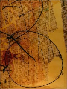 one of the three panels of Polke's Triptych which was part of the Dallas/London  exhibition but was the only work completed  before 9/11 for that exhibition